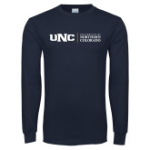 Navy Long Sleeve T Shirt-UNC Academic Block Horizontal