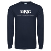 Navy Long Sleeve T Shirt-UNC Academic Block Verticle