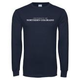 Navy Long Sleeve T Shirt-UNC Wordmark