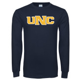 Navy Long Sleeve T Shirt-UNC Stroked Logo