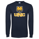 Navy Long Sleeve T Shirt-Interlocked UNC and Bear
