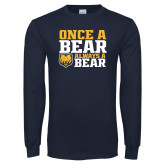 Navy Long Sleeve T Shirt-Once a Bear Always a Bear