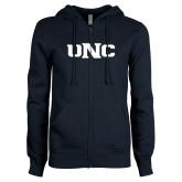 ENZA Ladies Navy Fleece Full Zip Hoodie-UNC