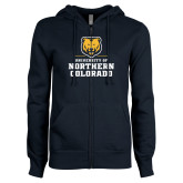 ENZA Ladies Navy Fleece Full Zip Hoodie-Northern Colorado Stacked Logo