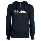 ENZA Ladies Navy Fleece Full Zip Hoodie-UNC Bears