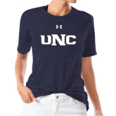 Ladies Under Armour Heather Navy Triblend Tee-UNC