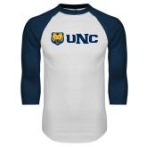 White/Navy Raglan Baseball T Shirt-UNC Bears