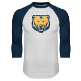 White/Navy Raglan Baseball T Shirt-Bear Mascot Distressed