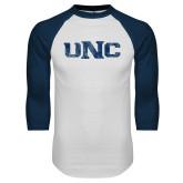 White/Navy Raglan Baseball T Shirt-UNC Distressed