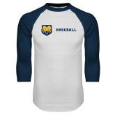 White/Navy Raglan Baseball T Shirt-Baseball