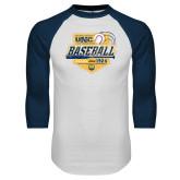 White/Navy Raglan Baseball T Shirt-Bears Baseball