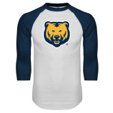 White/Navy Raglan Baseball T Shirt-UNC Bear Logo