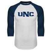 White/Navy Raglan Baseball T Shirt-UNC