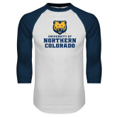White/Navy Raglan Baseball T Shirt-Northern Colorado Stacked Logo