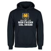 Navy Fleece Hoodie-Northern Colorado Stacked Logo