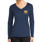 Ladies Syntrel Performance Navy Longsleeve Shirt-UNC Bear Logo