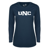 Ladies Syntrel Performance Navy Longsleeve Shirt-UNC