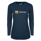 Ladies Syntrel Performance Navy Longsleeve Shirt-Basketball