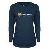 Ladies Syntrel Performance Navy Longsleeve Shirt-Track & Field