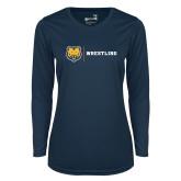 Ladies Syntrel Performance Navy Longsleeve Shirt-Wrestling