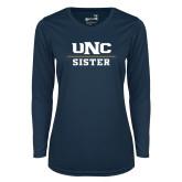 Ladies Syntrel Performance Navy Longsleeve Shirt-Sister