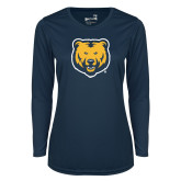 Ladies Syntrel Performance Navy Longsleeve Shirt-UNC Bear Logo