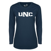 Ladies Syntrel Performance Navy Longsleeve Shirt-UNC