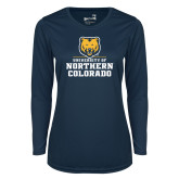 Ladies Syntrel Performance Navy Longsleeve Shirt-Northern Colorado Stacked Logo