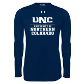 Under Armour Navy Long Sleeve Tech Tee-UNC Collegiate Stacked