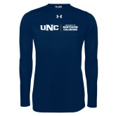 Under Armour Navy Long Sleeve Tech Tee-UNC Collegiate Horizontal