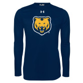 Under Armour Navy Long Sleeve Tech Tee-UNC Bear Logo