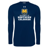 Under Armour Navy Long Sleeve Tech Tee-Northern Colorado Stacked Logo