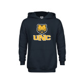Youth Navy Fleece Hoodie-Interlocked UNC and Bear