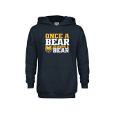 Youth Navy Fleece Hoodie-Once a Bear Always a Bear