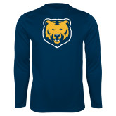 Performance Navy Longsleeve Shirt-UNC Bear Logo
