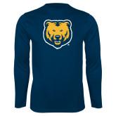 Performance Navy Longsleeve Shirt-UNC Bear Logo