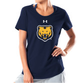 Ladies Under Armour Navy Charged Cotton Tee-UNC Bear Logo