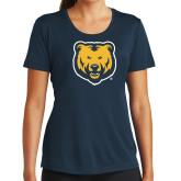 Ladies Syntrel Performance Navy Tee-UNC Bear Logo