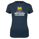 Ladies Syntrel Performance Navy Tee-Northern Colorado Stacked Logo