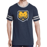 Navy Heather/Grey Tri Blend Varsity Tee-UNC Bear Logo