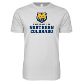 Next Level SoftStyle White T Shirt-Northern Colorado Stacked Logo