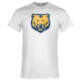 White T Shirt-Bear Mascot Distressed