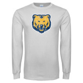 White Long Sleeve T Shirt-Bear Mascot Distressed