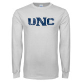 White Long Sleeve T Shirt-UNC Distressed