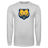 White Long Sleeve T Shirt-UNC Bear Logo