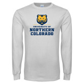 White Long Sleeve T Shirt-Northern Colorado Stacked Logo