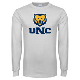 White Long Sleeve T Shirt-UNC Bear Stacked
