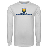 White Long Sleeve T Shirt-University of Northern Colorado Long Logo