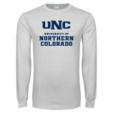 White Long Sleeve T Shirt-UNC Collegiate Stacked