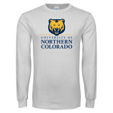 White Long Sleeve T Shirt-University of Northern Colorado Academic Stacked